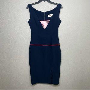 Tatyana Womens Size Large Skirt Ahoy Pencil Dress Navy V Neck Sailor Pinup